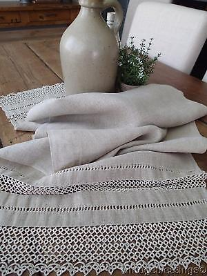 French Farmhouse Antique Ecru Floppy Linen And Tatted Lace Table Runner 52x17