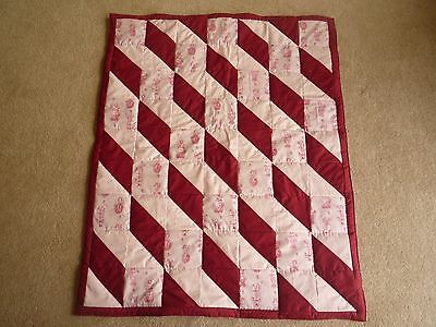 New Handmade Baby/ Toddler Quilt (Blanket)  - Fairies (Raspberry/Pink)