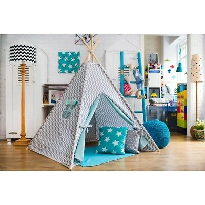 Child's teepee Grey and Mint Zigzag Wigwam Tent Tipi Teepe