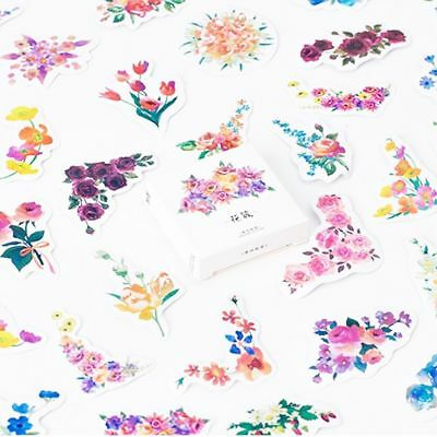 45 PCs/lot Stationery Label Blooming Flower Petal Stickers Diary Decal