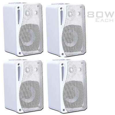 WHITE 4x 80W Wall Speakers + wall mounts ideal for Home 5.1 Surround Kitchens TV