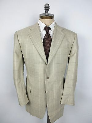 HICKEY FREEMAN Silk Wool 42R Beige Windowpane Check Jacket Sport Coat USA