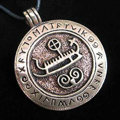 Bronze Viking Ship with Runes Pendant NEW Norse Pagan Amulet w/ Cord - US Made!