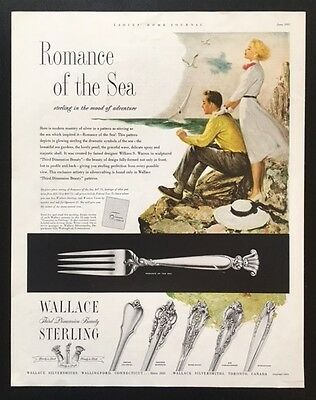 1953 Wallace Sterling silver Romance of the Sea William S. Warren vintage AD