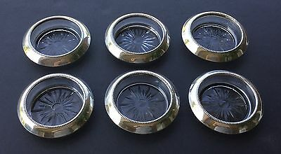 Antique Set Of 6 Frank M Whiting Sterling Silver And Crystal Coasters - Circa 19