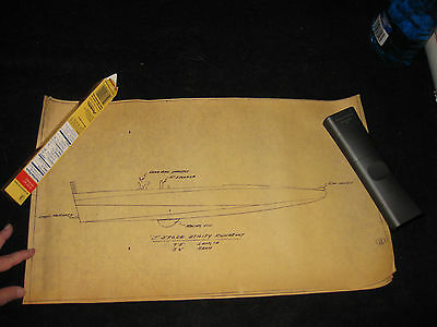 Vintage Set of 4 Boat Blueprints j Stock Utility Runabout  Wooden 1950's