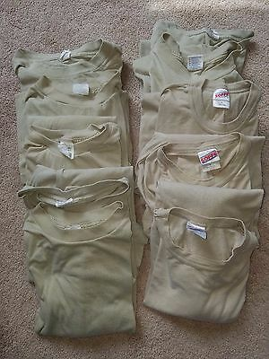 10 US Military Army Long Sleeve Cotton Short TShirt Tan ACU Multicam Large Lot