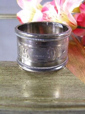 Antique Victorian Silver Plate Hand Engraved Rope Edge  Napkin Ring W/MINNIE