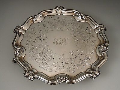 """1839 English Sheffield Sterling Silver Footed Salver 7.25"""" Tray"""