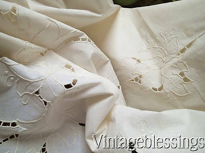 Vintage Hand Embroidered Cutwork Lace FRENCH LINEN Tablecloth Roses