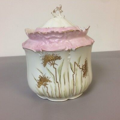 Antique 19th Century French Porcelain Biscuit Jar With Pink And Gold Decoration