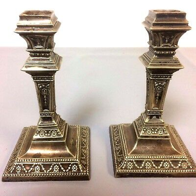 Fine Pair of Gorham Column Silverplate Candlesticks