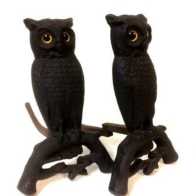 Antique Pair Of Owls Andiron W/ Glass Eyes