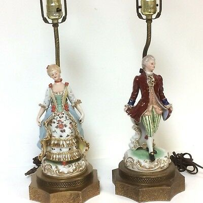 Pair Of Antique Dresden Figurine Lamps With Fine Bronze Mount