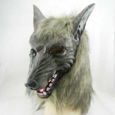 Funny Adorable Wolf Head Mask Latex Animal Costume For Halloween Party Decor New