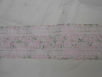 Pale Pink And Green Cotton Embroidered Insertion Trim