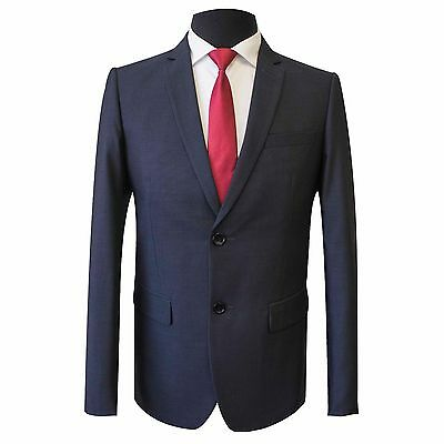 New Scuzzatti Men's Dark Blue Birdseye Slim Fit Suit