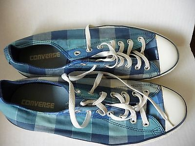 Converse All Star Low Blue Check Plaid Canvas Sneakers Shoes Womens 14  Mens 12