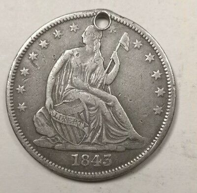 1843-O Seated Liberty Half Dollar VF Details (Holed)