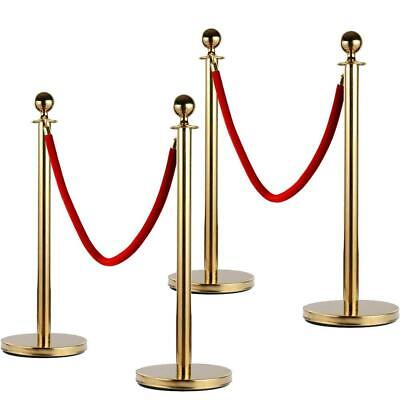 4PCS Gold Stainless Steel Stanchion Posts w/Red 2 Velvet Rope