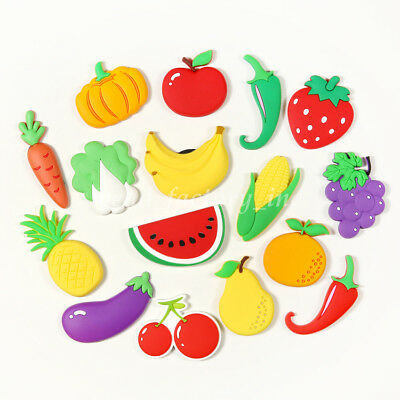 NEW Cute Silicone Fruit Vegetable Fridge Magnet Home Decor Refrigerator Sticker