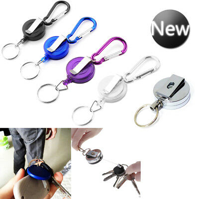 Stainless Pull Ring Retractable Key Chain Recoil Keyring Heavy Duty Steel UK