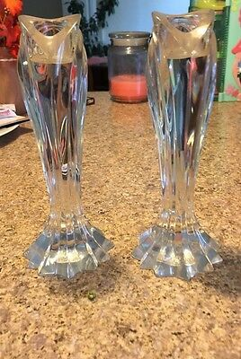 """LENOX  Crystal ARCTIC BLOOM Candle Candlestick Holders 7 1/2"""" (2)"""
