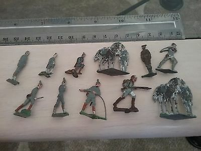 WW1/WW2 GERMAN LED SOLDIERS x 11 VARIOUS CONDITIONS LOT A