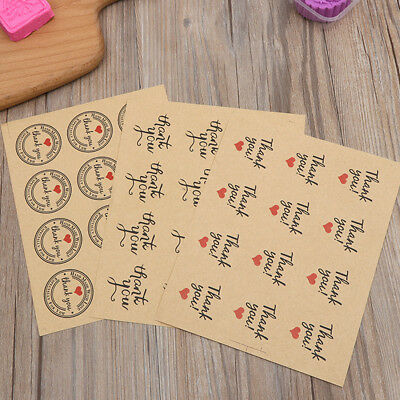 "120Pcs Vintage ""Thank you"" Round Kraft Paper Seal sticker For Handmade Products"