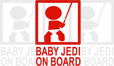 Baby Jedi On Board Graphic Decal Car Vehicle Red