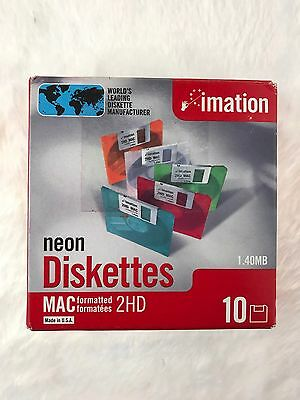 """NEW Imation Neon MAC Formatted 2 HD 1.4 MB 3.5"""" Diskettes 10 NEW NIB Computer"""