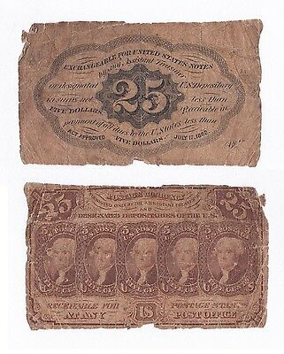 Original 1862 Civil War 25 Cent Fractional Currency Note Jefferson 1st Issue