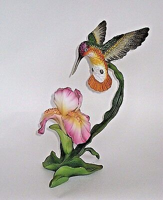 Porcelain Ceramic Hummingbird Figurine Suspended Bird Drinking from Flowers