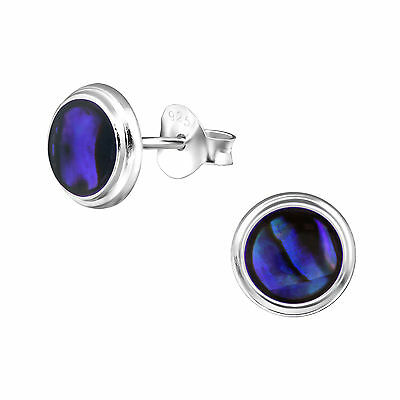 925 Sterling Silver Blue Abalone Shell 8mm Round Circle Disc Stud Earrings Gift
