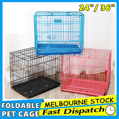 Foldable Dog Puppy Cat Pet Portable Cage Kennel Collapsible Metal Tray ACB#