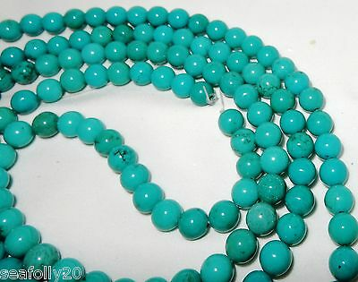"1 x 16"" strands x 8mm round Genuine Natural Turquoise Beads - combined post"