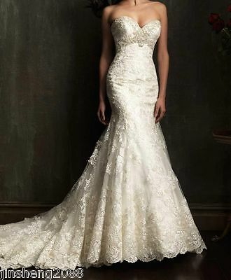 Hot New white/ivory Wedding bridal Gown dresses Stock size 4 6 8 10 12 14 16 18