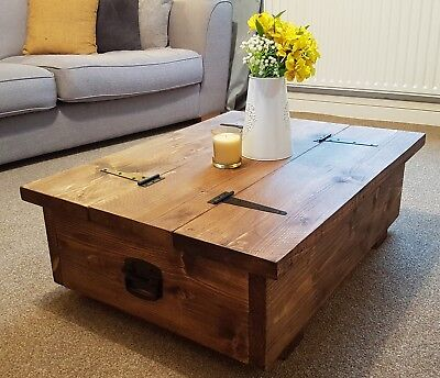 Coffee Table Storage Trunk, wooden chest farmhouse chunky sleeper rustic blanket
