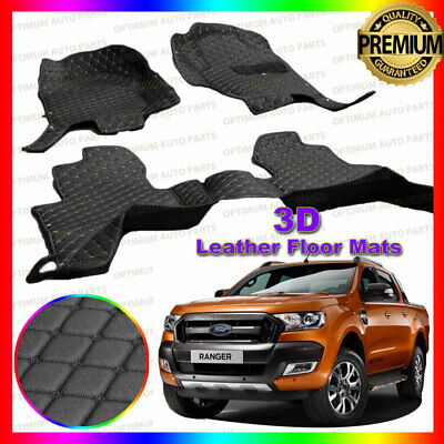 3D PU Black Leather Floor Mats Carpet to suit Ford Ranger PX MKI MKII 2012-2018