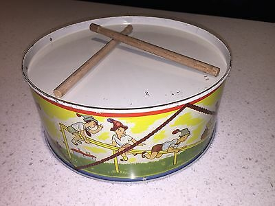 Ace Toys Made In Australia Tinplate Litho Toy Drum Old Stock 1950's Rare!