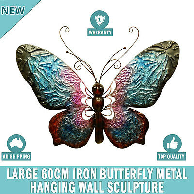 NEW Large 60 cm Iron Butterfly Metal Wall Hanging Sculpture Home Garden Decor