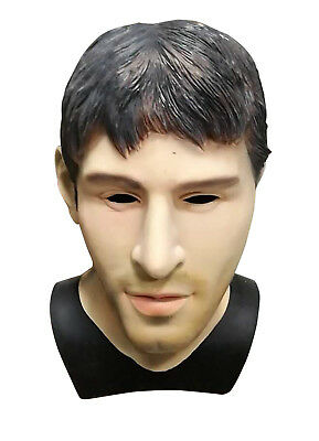 MASCARELLO Realistic Latex Human Mask Handsome Male Halloween Fancy Messi Look