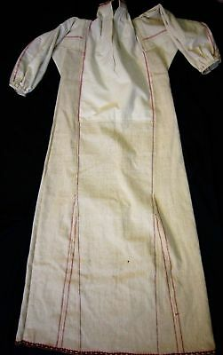 Antique Robe Hand Woven Embroidered Night-Gown Lace Linen Dress Shirt Unused