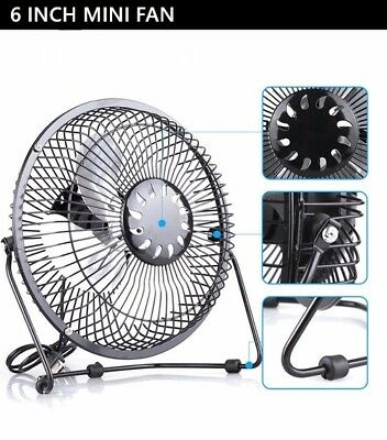 6'' Mini USB Metal Desktop Cooling Quiet Desk Fan For Computer Laptop PC Office