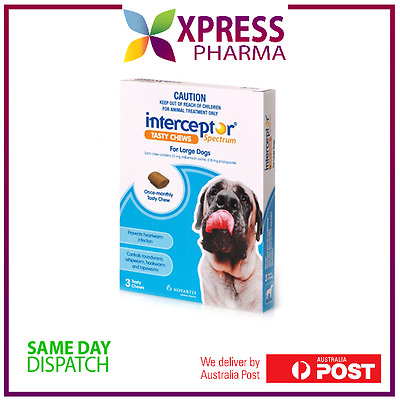 Interceptor Spectrum Large Dogs Allwormer 22 to 45 kgs Blue chews NEW XPRESS