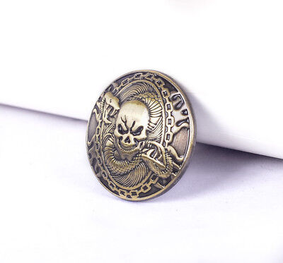 1-1/8'' Western Fortune Cover Screw Back Concho Antique Brass Skull Saddle Tack