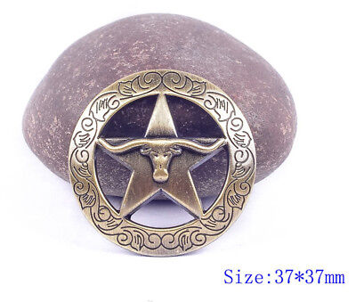 6Pc Western Longhorn Star Rodeo Leather Craft Antique Brass Conchos Screwback
