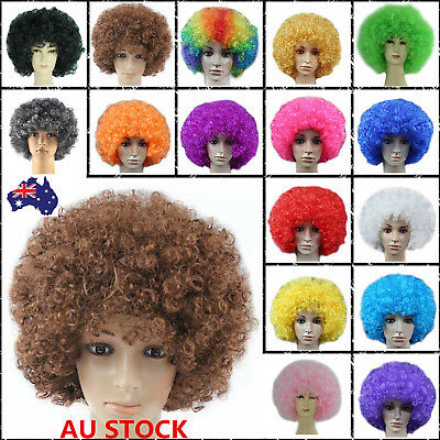 Disco Afro Clown Hair Football Fan Curly Wig Adult Kid Costume Cosplay Halloween