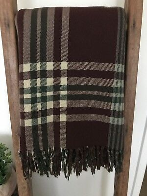 Vintage Brown/Green & Cream check Travel Rug/ Blanket 100% Wool 160cm x 180c