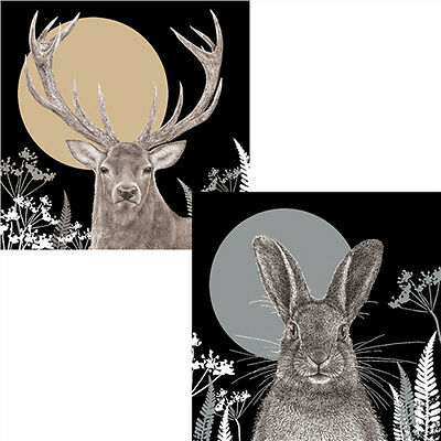 Stag & Hare Luxury Christmas Cards RSPB Pack of 10 Christmas Moonlight NEW